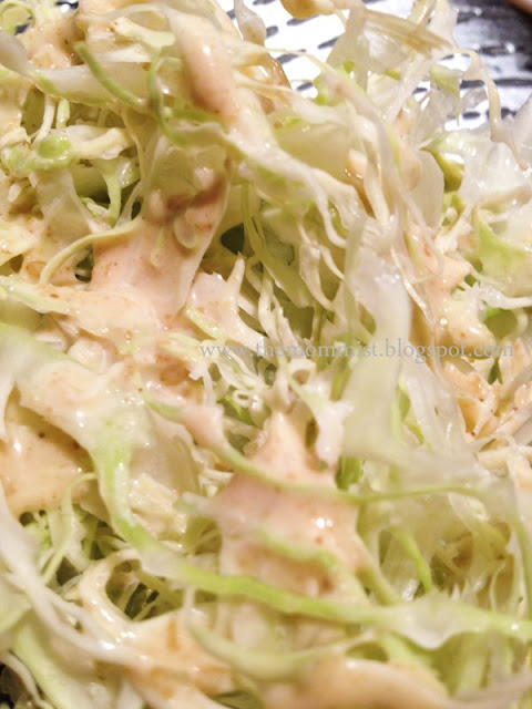 Shredded cabbage with sesame dressing