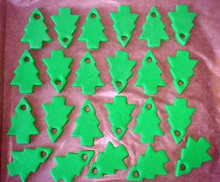 green salt dough Christmas trees