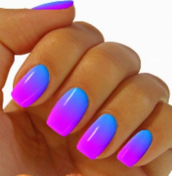 Glowing vibrant blue to purple gradient nail art. manicure  nailart Love the colors