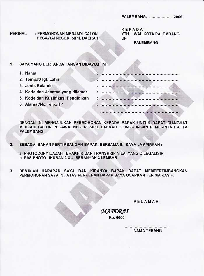 Contoh Surat Lamaran Kerja