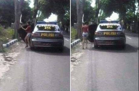 Heboh Mobil Polisi Menurunkan Wanita Berpakaian Seksi Di Pinggir Jalan