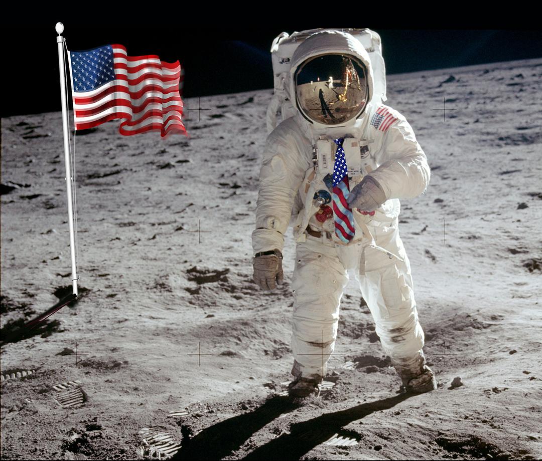 Apollo 11 Buzz Aldrin's American Flag Necktie On The Moon