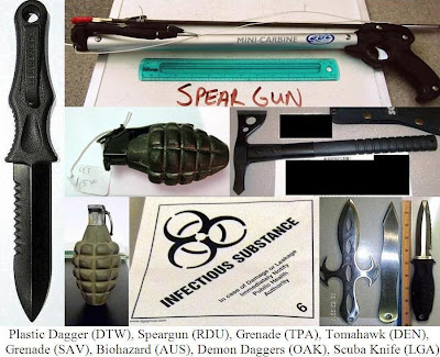 Plastic dagger, spear gun, inert grenades, axe, knives, infectious substance.