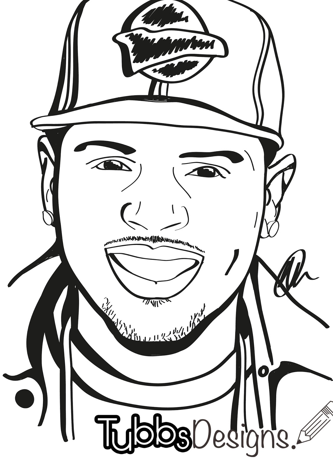 chris brown free colouring pages