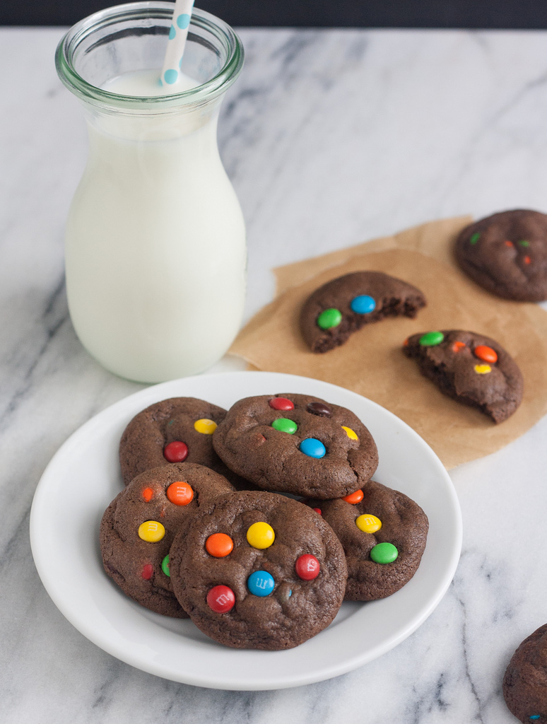 Club El Diablo: Soft and Chewy Double Chocolate M and M Cookies