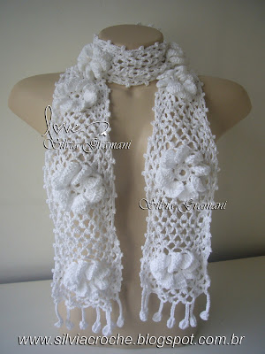 cachecol branco, cachecol feminino, croche, cachecol de flores,