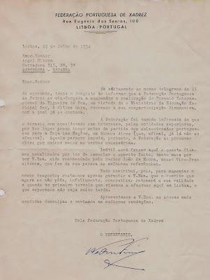 Carta de la Federación Portuguesa de Ajedrez a Ángel Ribera, 1954