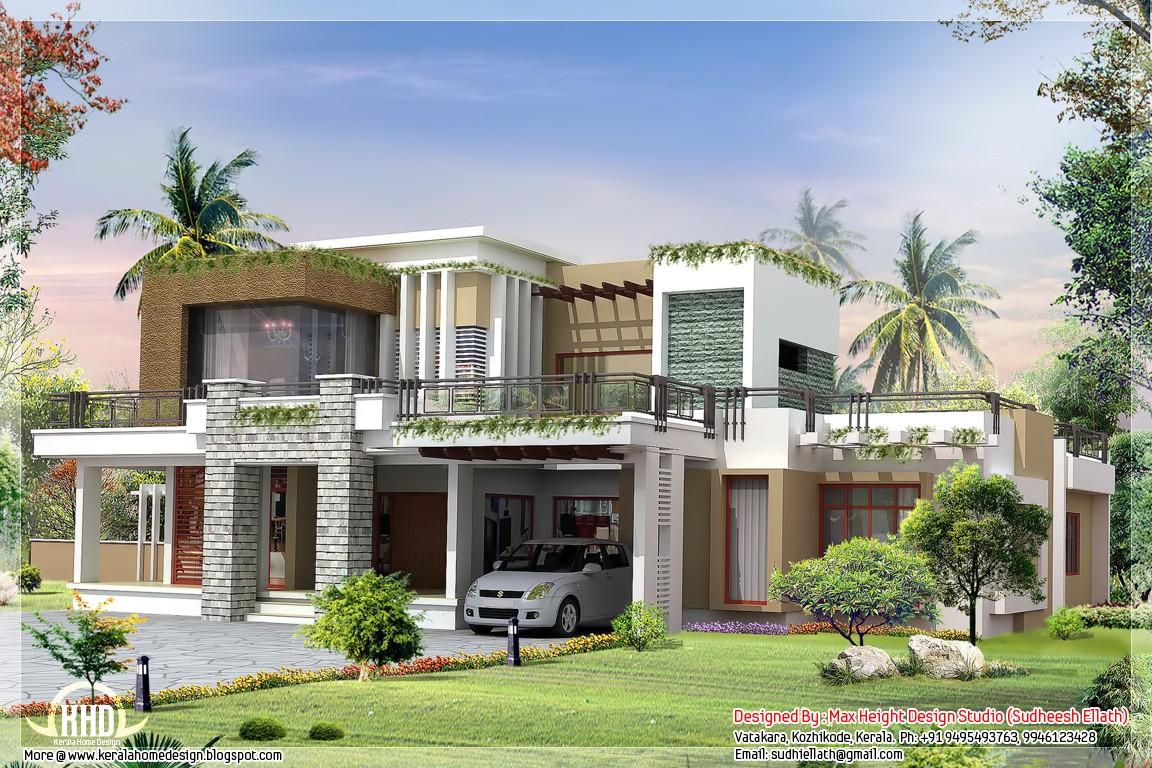 Exterior collections kerala home design 3d views of Modern residence