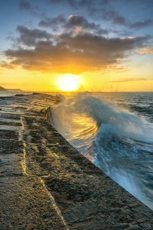Autumn sunrise at The Cobb in Lyme Regis, Dorset, England