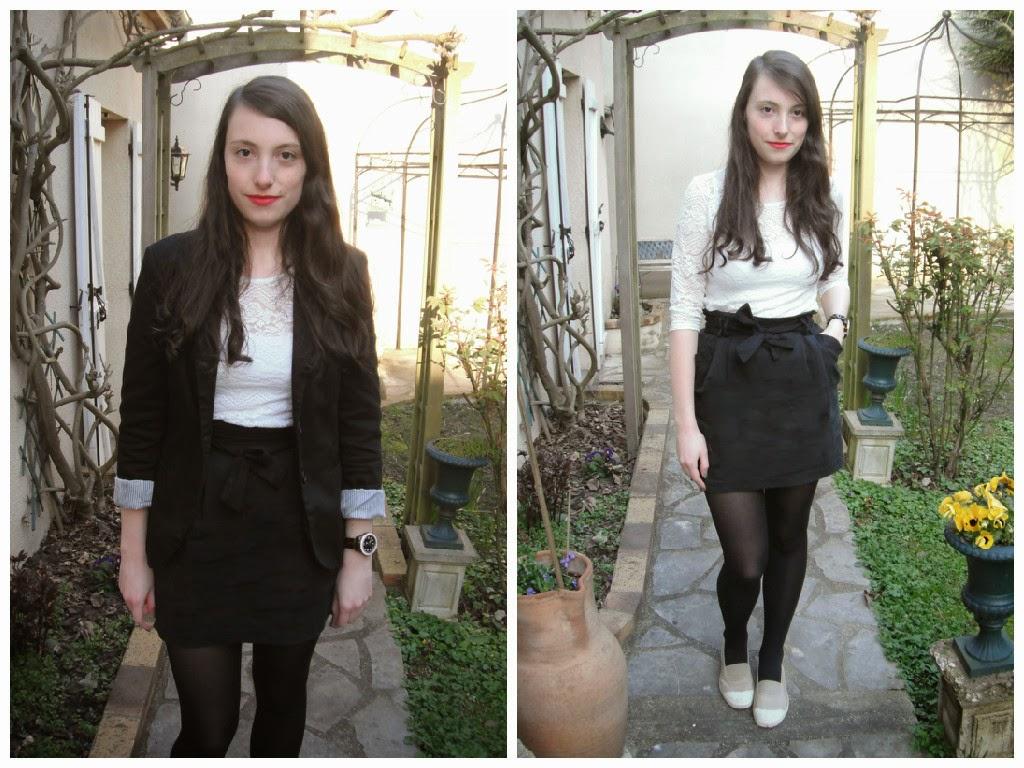 Lookbook printemps 2015 tenue 1 : jupe et haut dentelle blanche