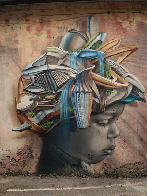 Mujer en 3d. Sensacional arte callejero