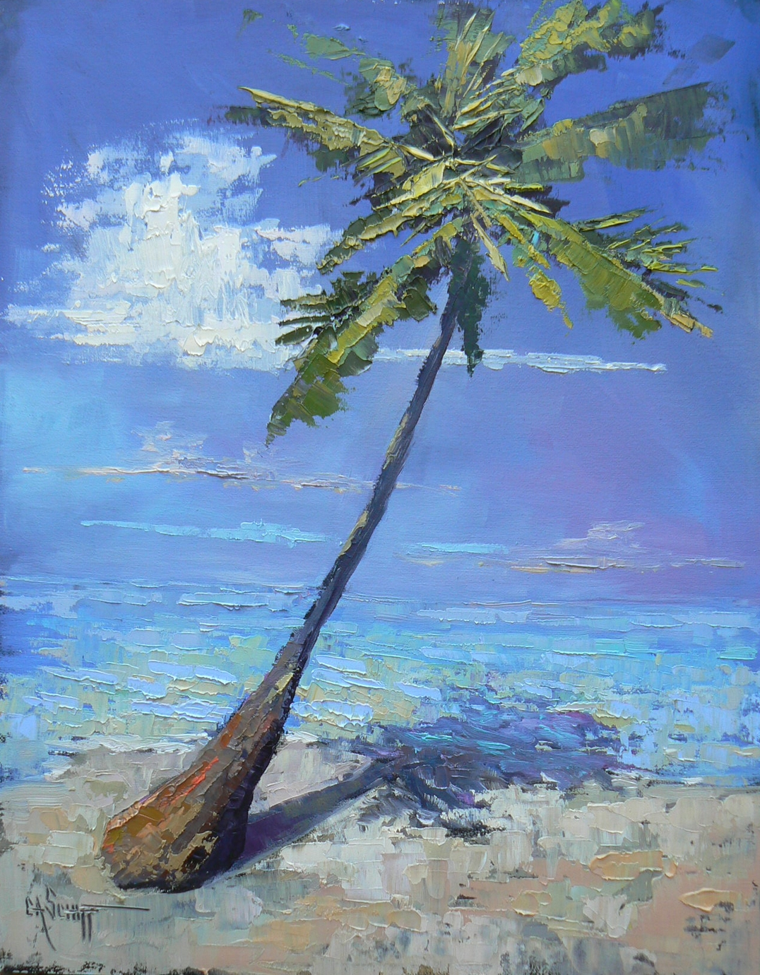 Palette Knife Painters Tropical Landscape Daily Painting In Oil