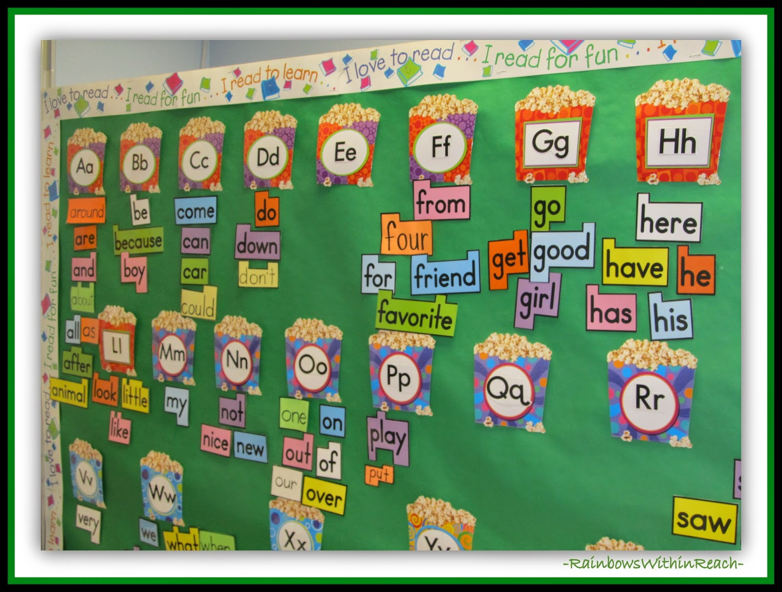 "Word Wall with ""Popcorn"" Theme in Kindergarten (from Round-Up by RainbowsWithinReach on all things: Word Wall)"
