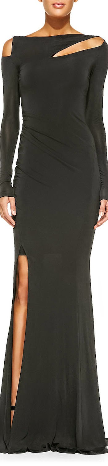Donna Karan Long-Sleeve Cold-Shoulder Gown