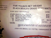 Inspection label on bag of Jonathan Green Black Beauty grass seed