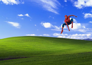 Spiderman desktop Wallpaper Super Hero Flying over Countryside Landscape Desktop wallpaper