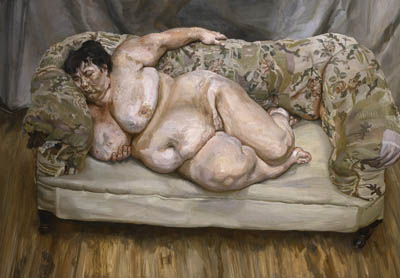 Sue Tilley painted by Freud hanging in one of the greatest art galleries