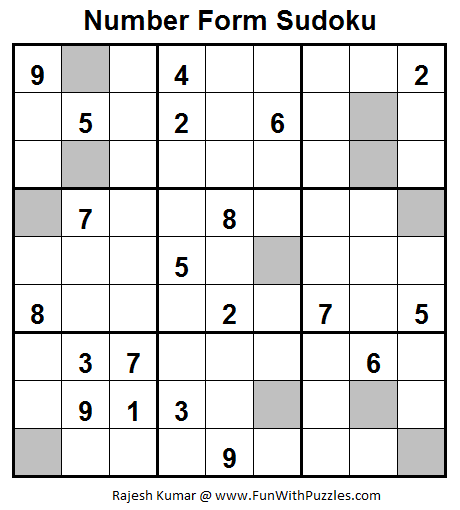 Number Forms Sudoku (Fun With Sudoku #27)