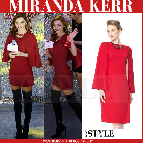 Miranda Kerr in red mini tadashi shoji dress and black boots what she wore