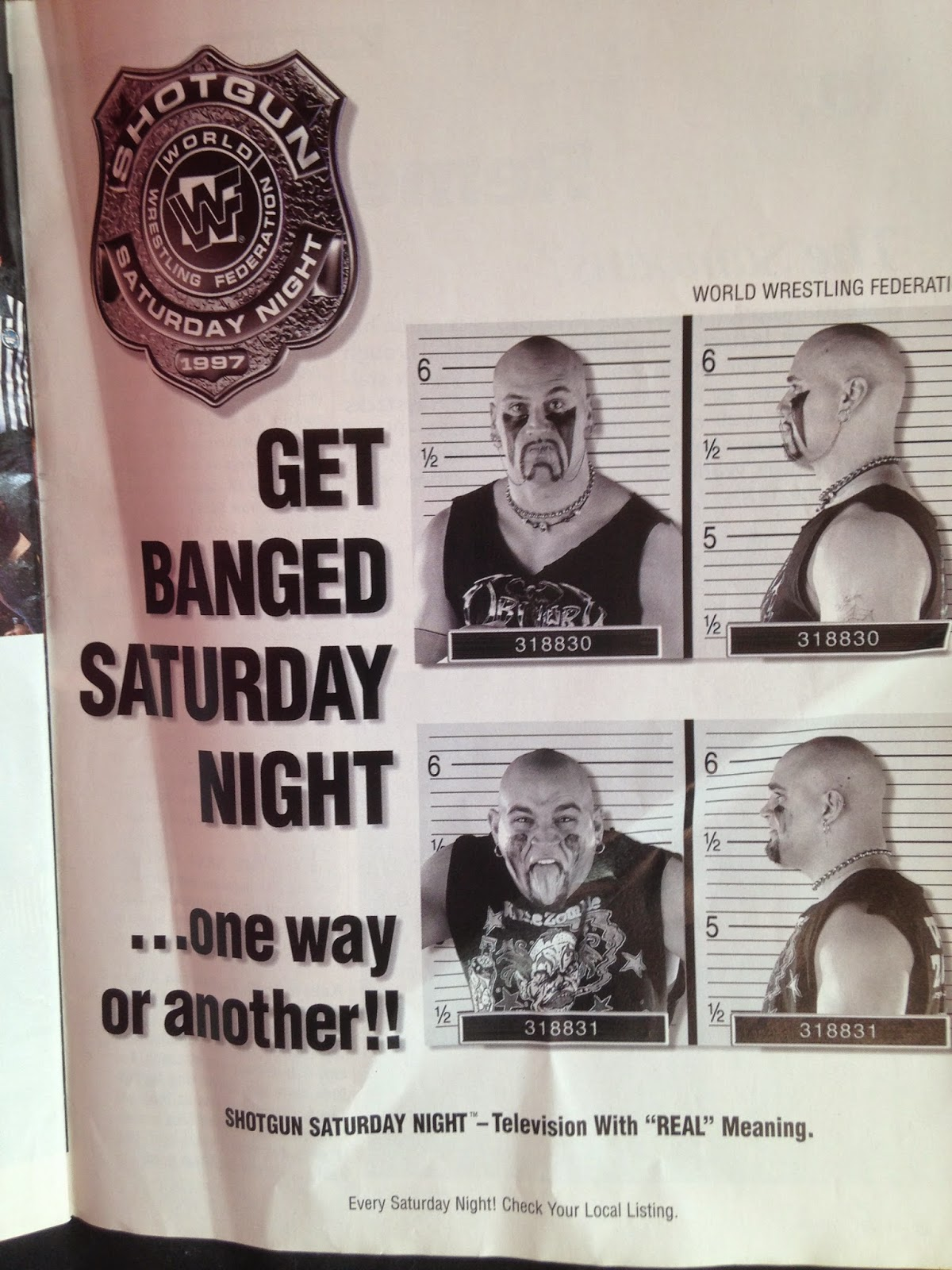 WWE - WWF Raw Magazine - April 1998 - Shotgun Saturday Night ad featuring The Headbangers