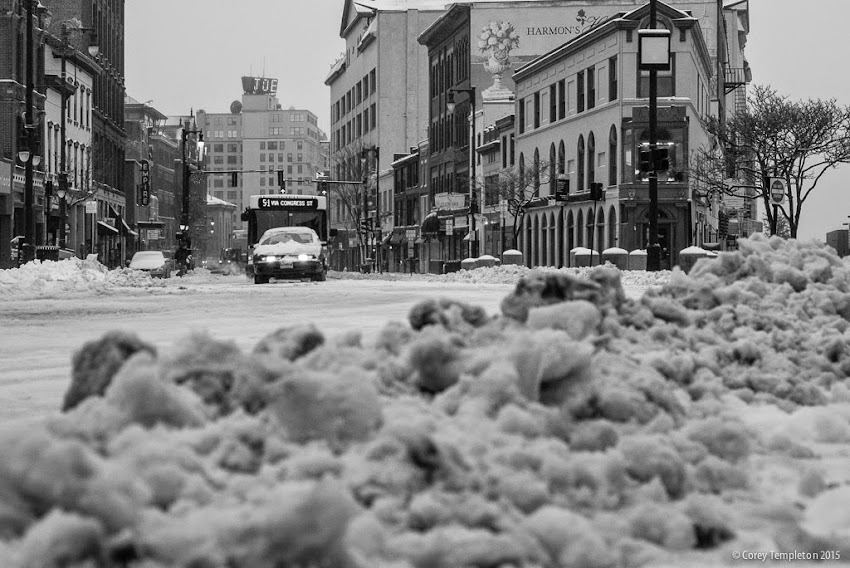 Portland, Maine USA January 2015 Winter snow Congress Street black and white photo by Corey Templeton