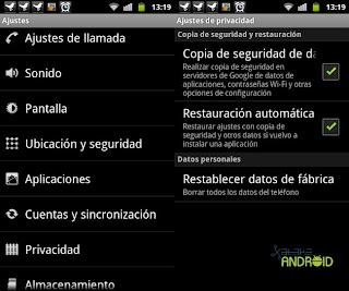 Estado original de Android