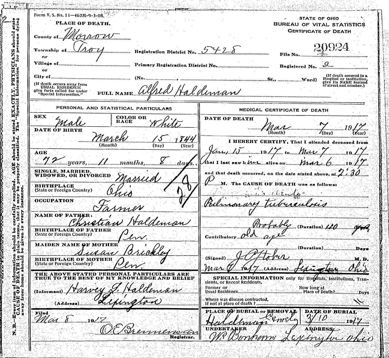 Ohio death certificate sample choice image certificate design new photograph of death certificates ohio business cards and record alfred haldeman 1917 morrow county ohio aiddatafo Image collections
