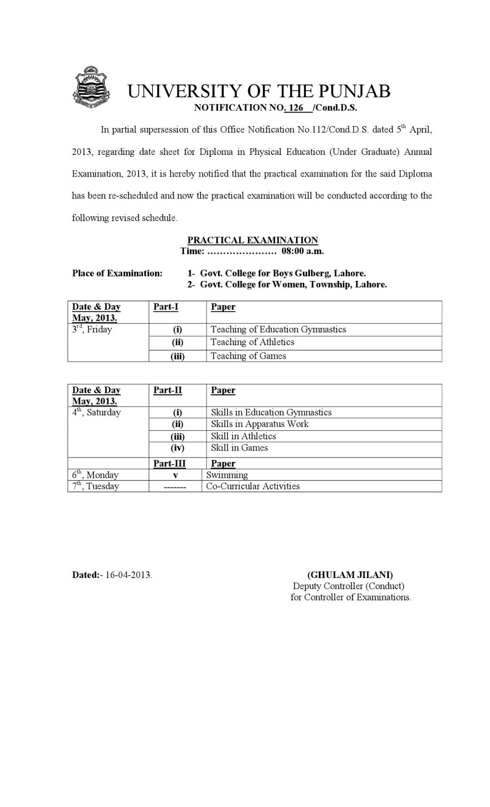 University of the Punjab REVISED PRACTICAL DATE SHEET FOR ...