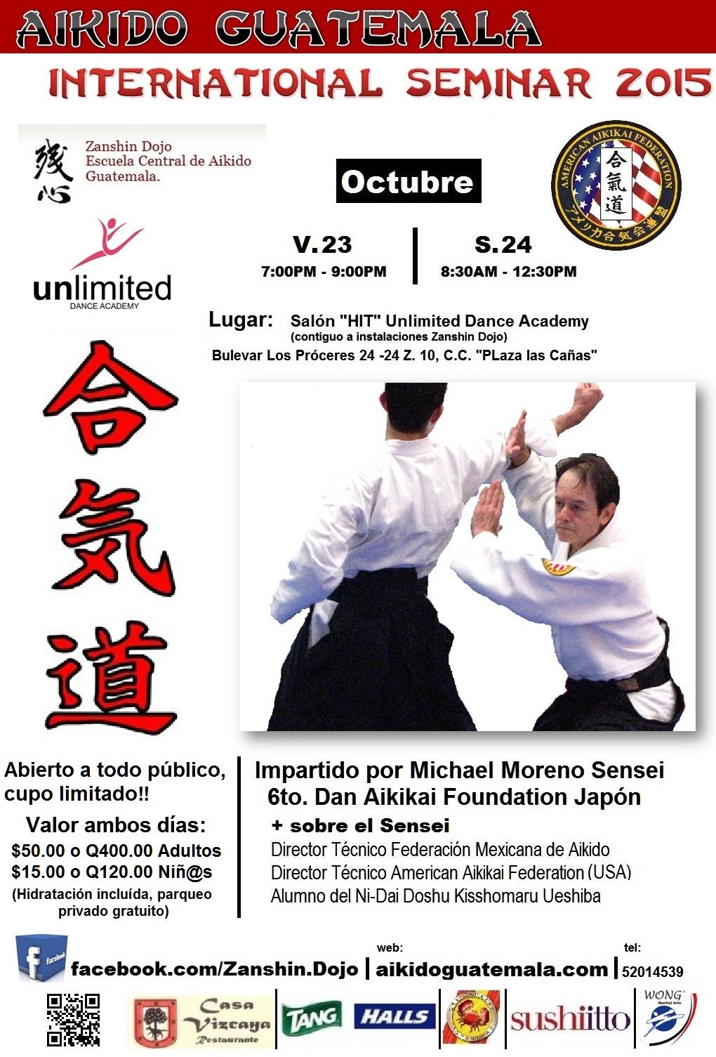 Afiche 13vo. Seminario Zanshin Dojo Aikido Guatemala