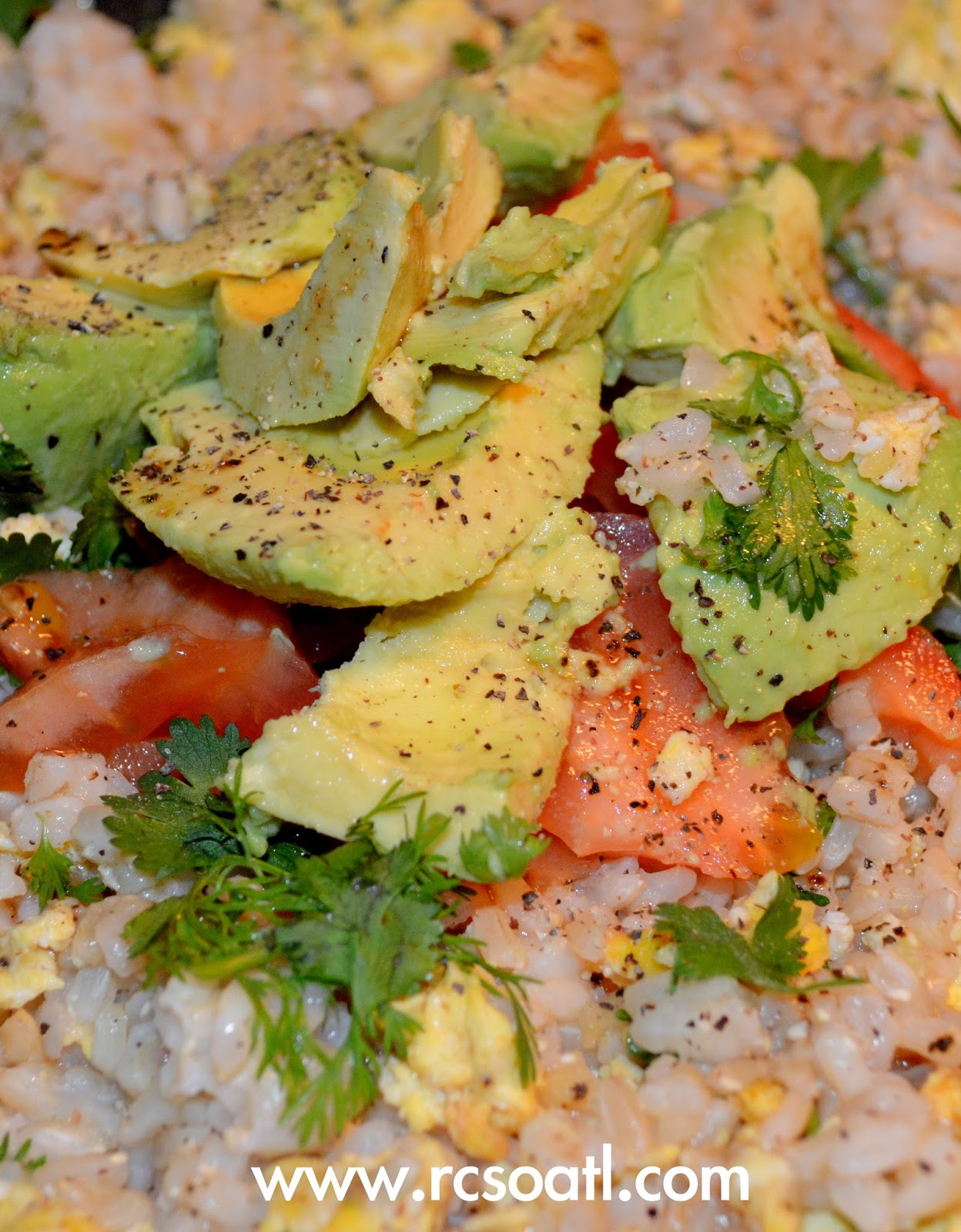 ... College Student of Atlanta: Fried brown rice with avocado and tomato