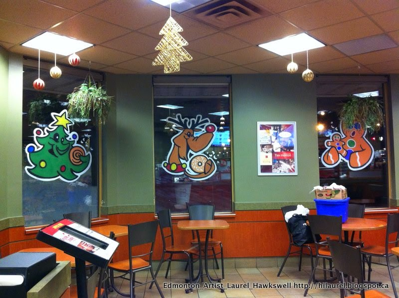 Christmas window painting for Tim Hortons