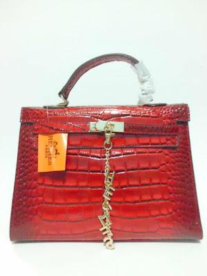 tas wanita terbaru, impor, import, tas branded Kelly Croco, Tas Kelly Croco warna Merah (Red), image