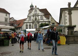 Open-air market in the town plaza, Wangen im Allgäu, Germany
