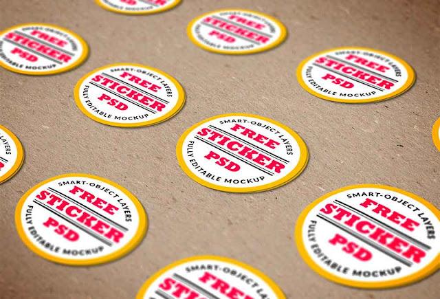 Stickers Mockup PSD