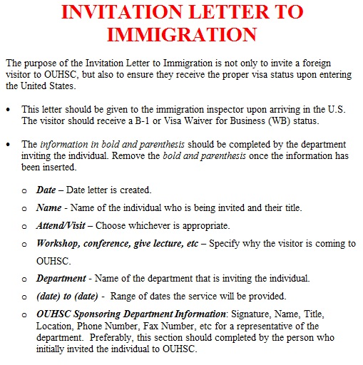 Sample Visa Invitation Letters