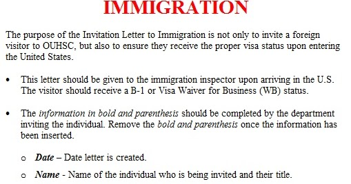 Invitation letter template immigration invitation letter sample stopboris Choice Image