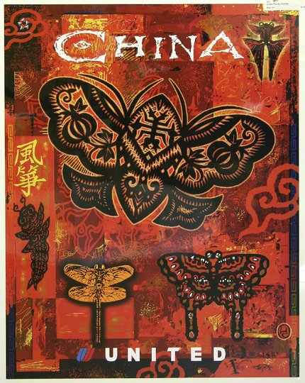 classic posters, free download, graphic design, retro prints, travel, travel posters, vintage, vintage posters, China, United Airlines - Vintage China Travel Poster