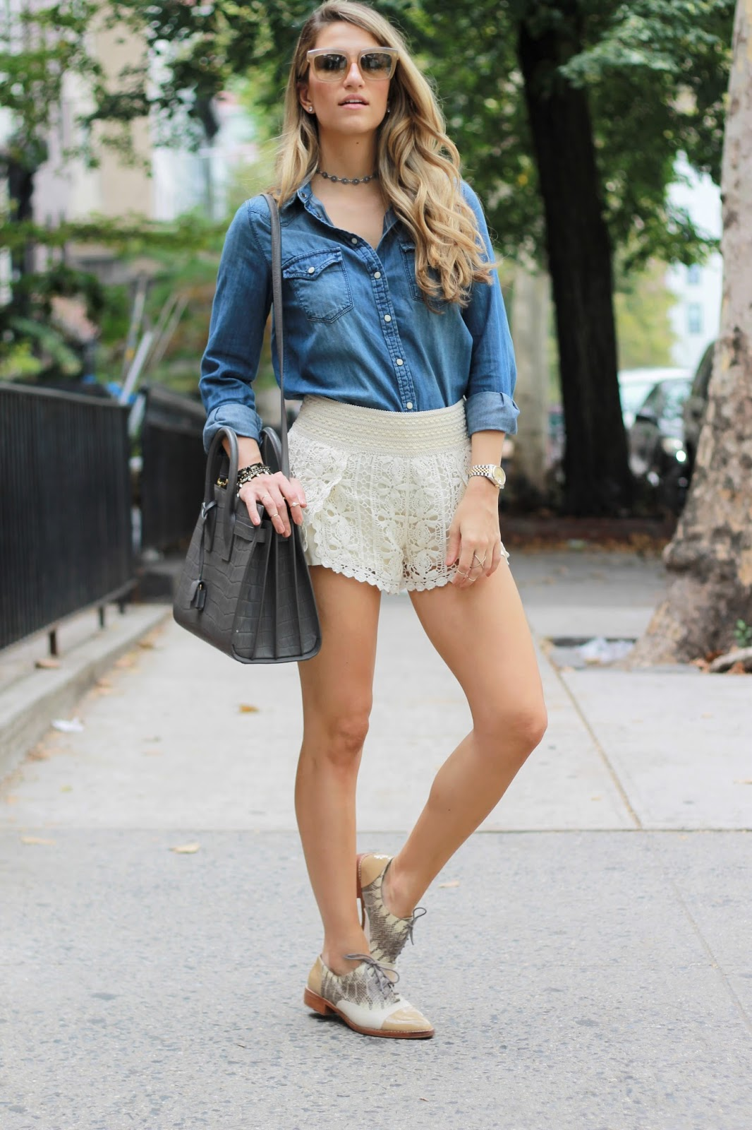 oxford shoes outfit ideas, crochet shorts, dressed for dreams