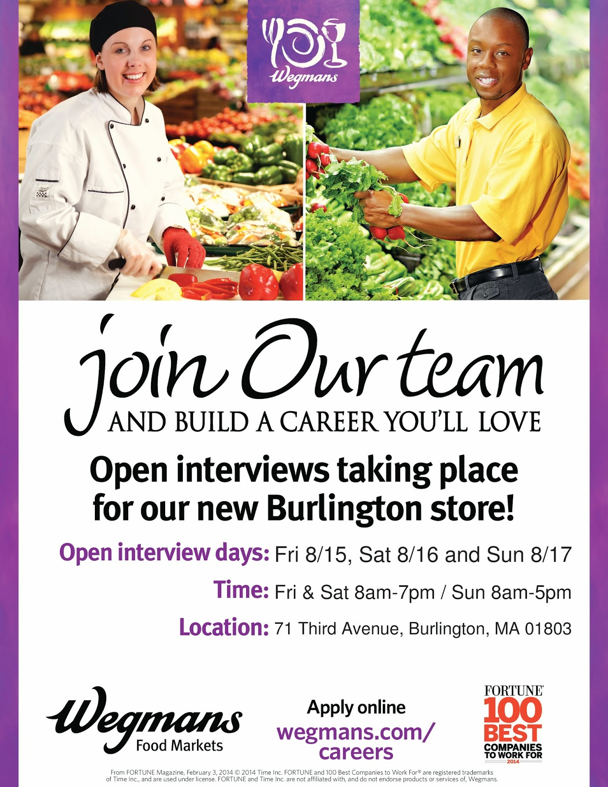 burlington high school principal s blog any students looking for the new wegmans in burlington is now hiring 400 part time employees if you re looking and interested check out the flyer below