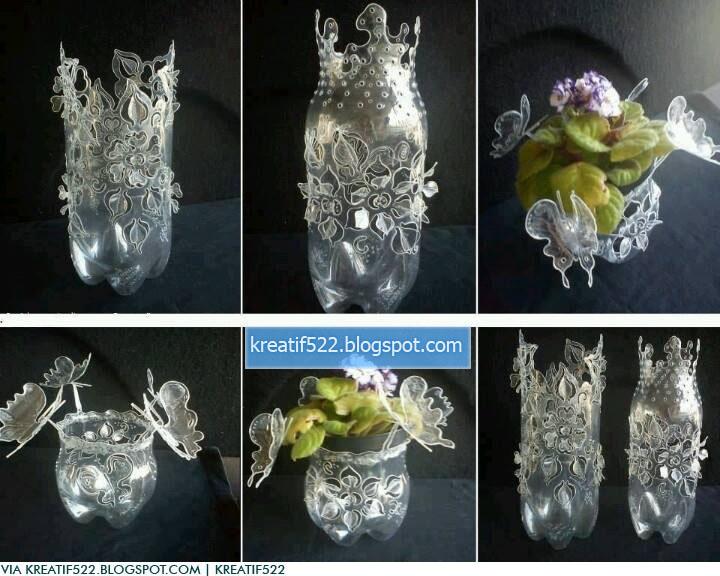 bunga dari botol plastik bekas art energic cara membuat vas bunga dari ...