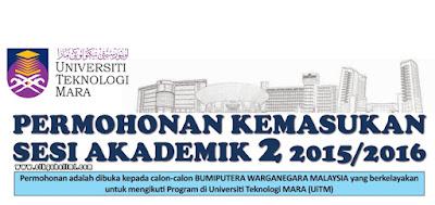Permohonan ke UiTM Bagi Sesi Akademik 2 2015 / 2016