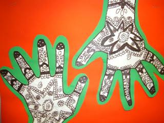 Henna Hands and easy art using hand print
