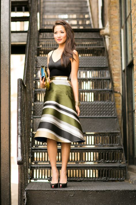Shinny Striped flare skirt with black blouse