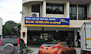 Prawn fishing pond shop front in Permas Jaya