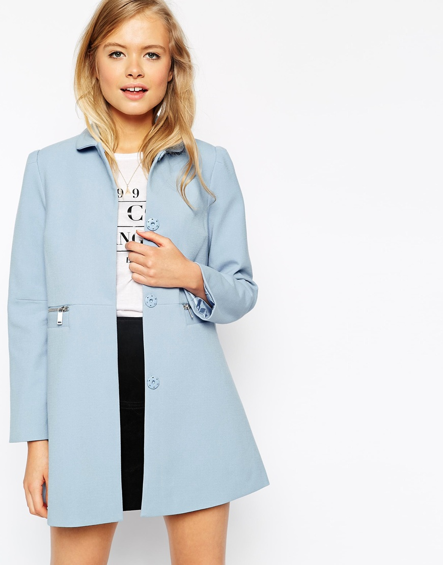 asos blue peter pan collar coat