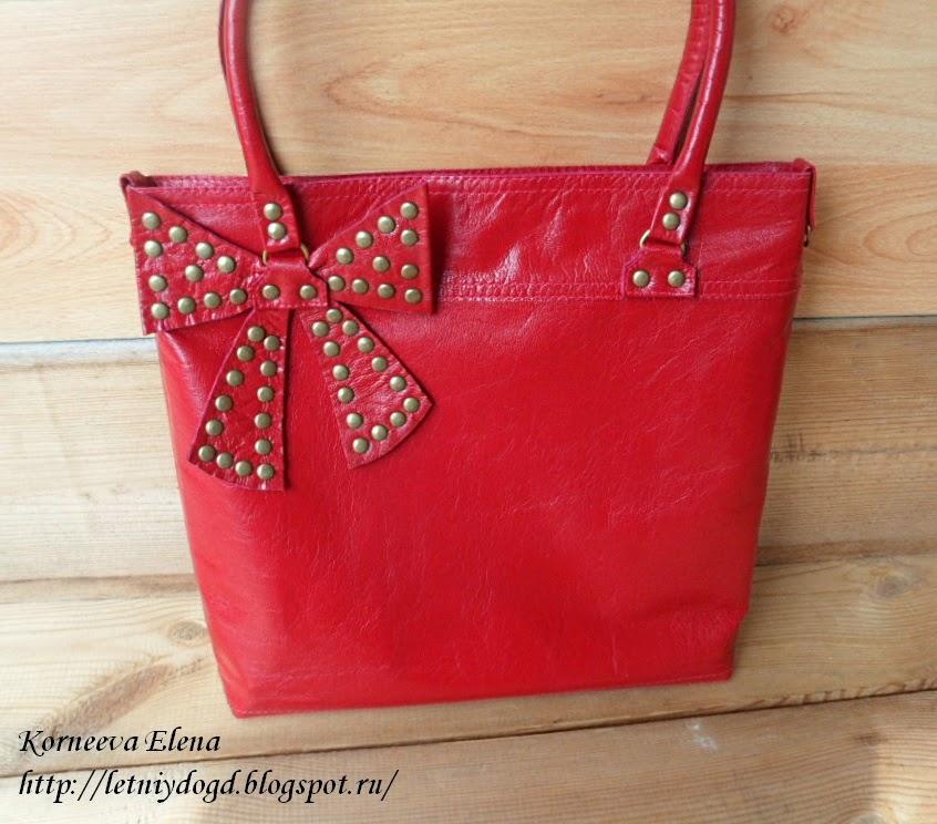 Большая кожаная красная сумка с бантом