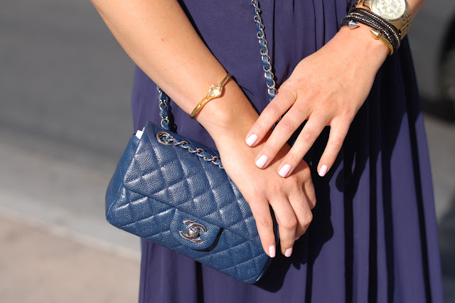 Blue midi skirt, black crop top from Sirens, Aldo gladiator sandals and a Chanel caviar classic bag.