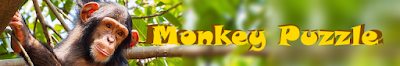 """Monkey in tree with app title text """"Monkey puzzle"""""""