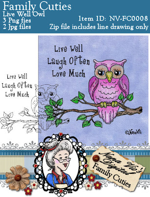 Digital Stamp, Owl from the Family Cuties Collection