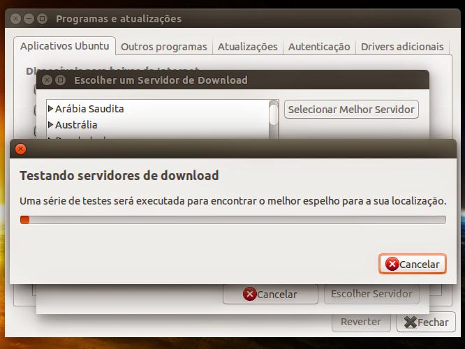 O Ubuntu irá escolher o melhor servidor para a sua localização